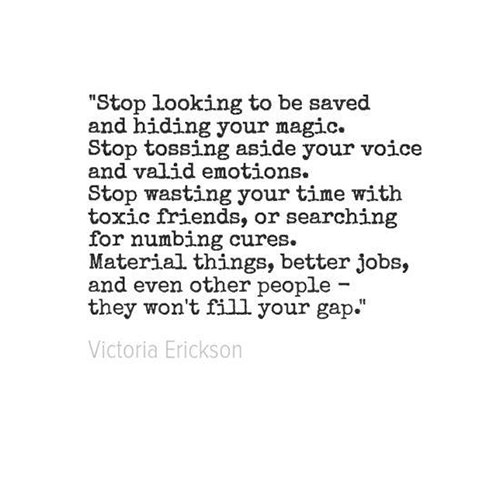 Great Advice #58: Stop looking to be saved and hiding your ...